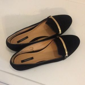 Black suede loafer flats with gold bar NEW
